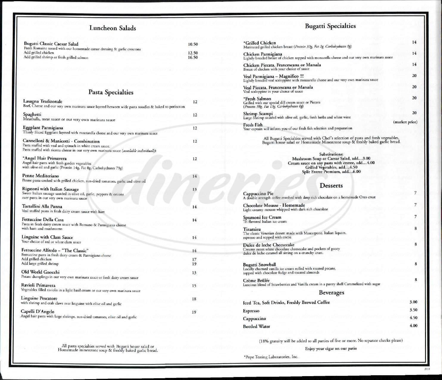 menu for Bugatti Ristorante