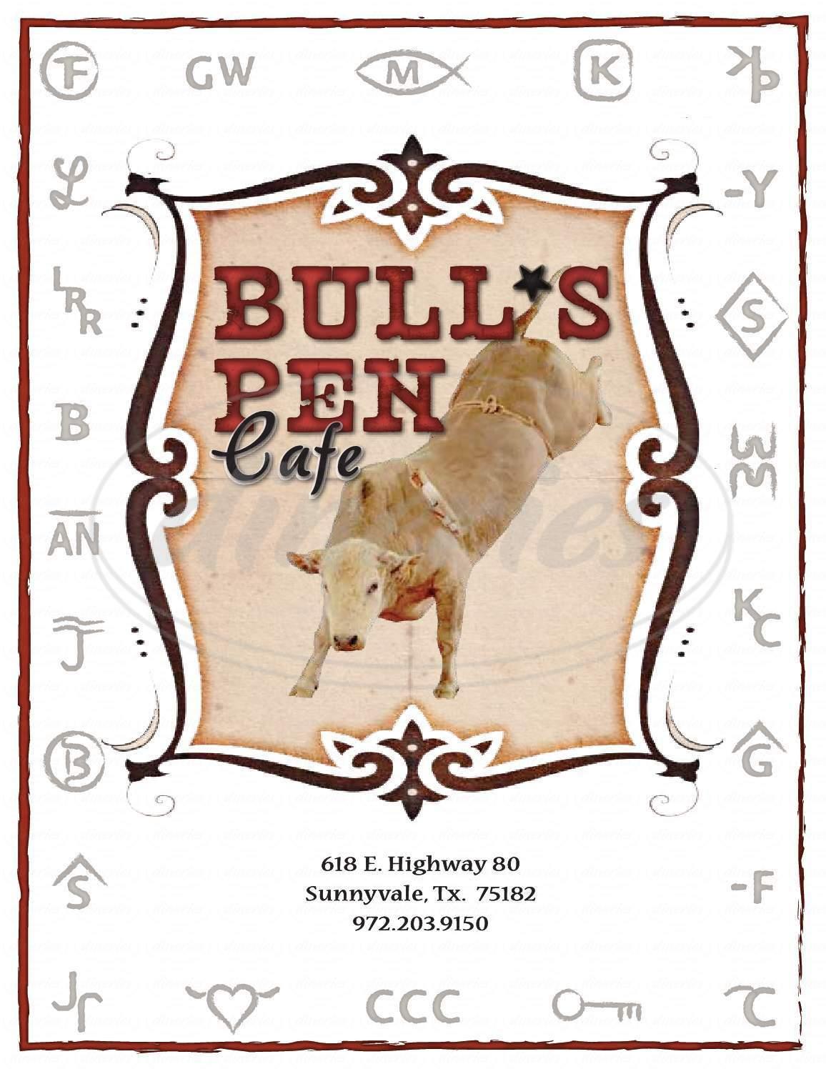 menu for Bull's Pen Cafe