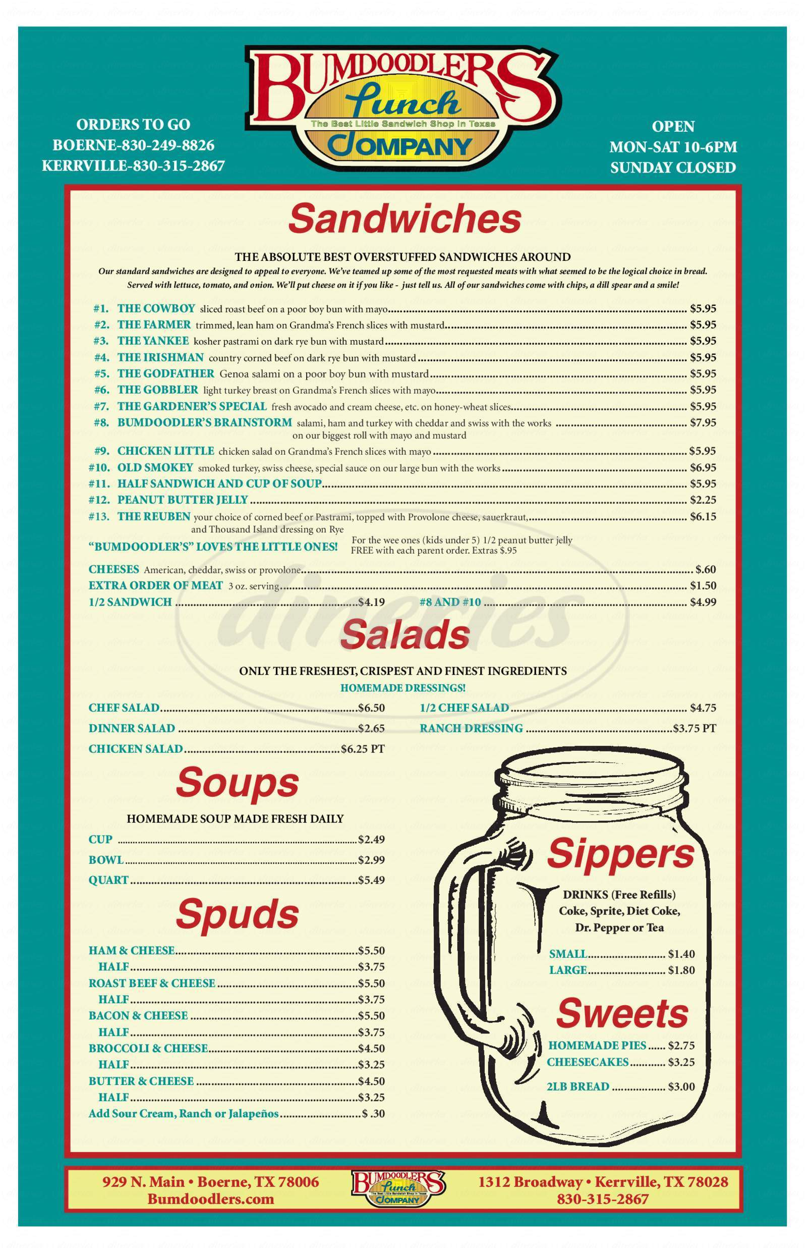 menu for Bumdoodler's Lunch Company