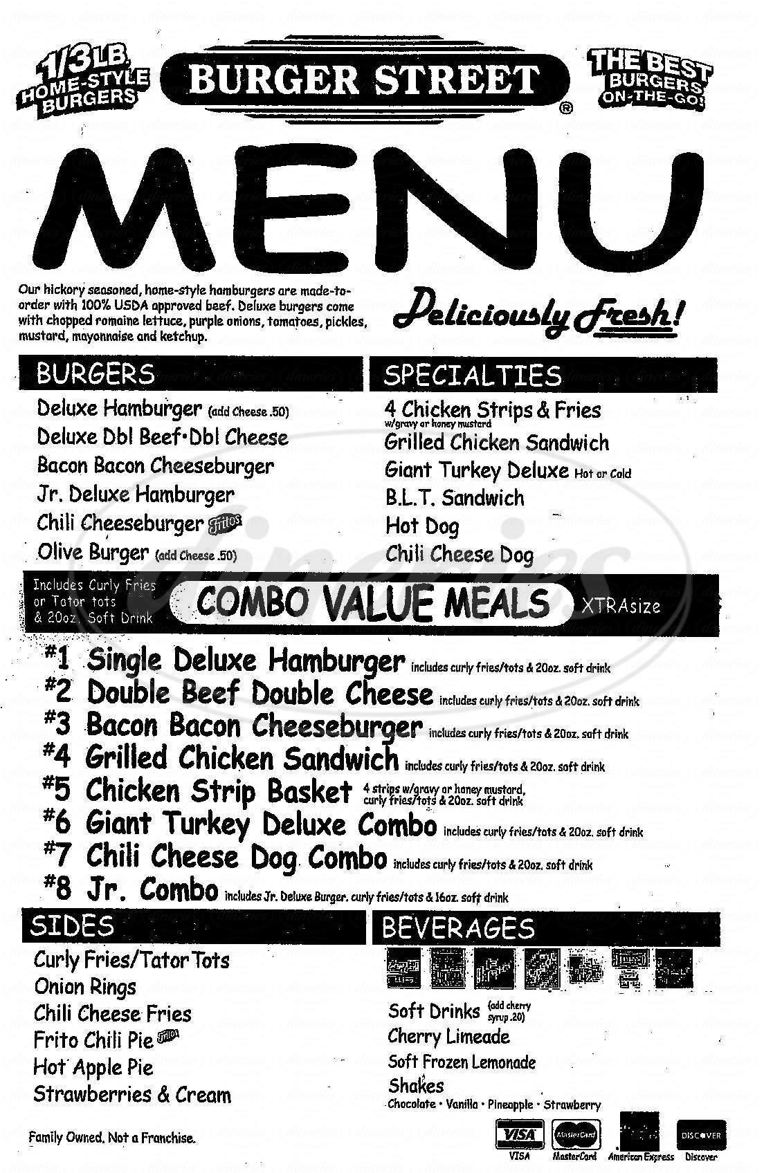 menu for Burger Street