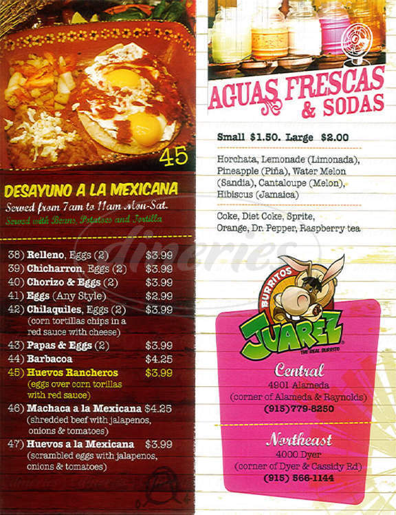 menu for Burrito's Juarez Restaurant