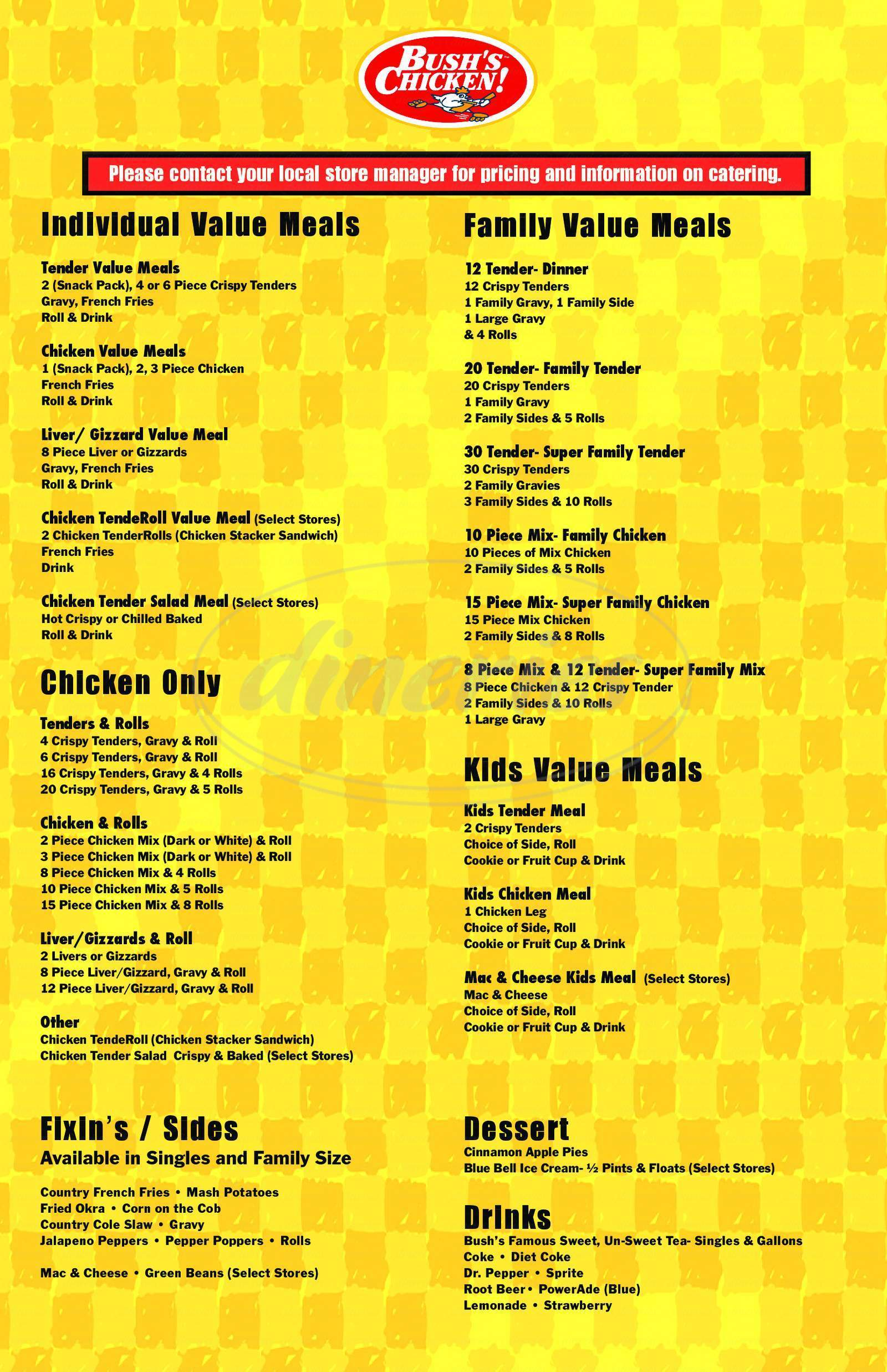 menu for Bush's Chicken!