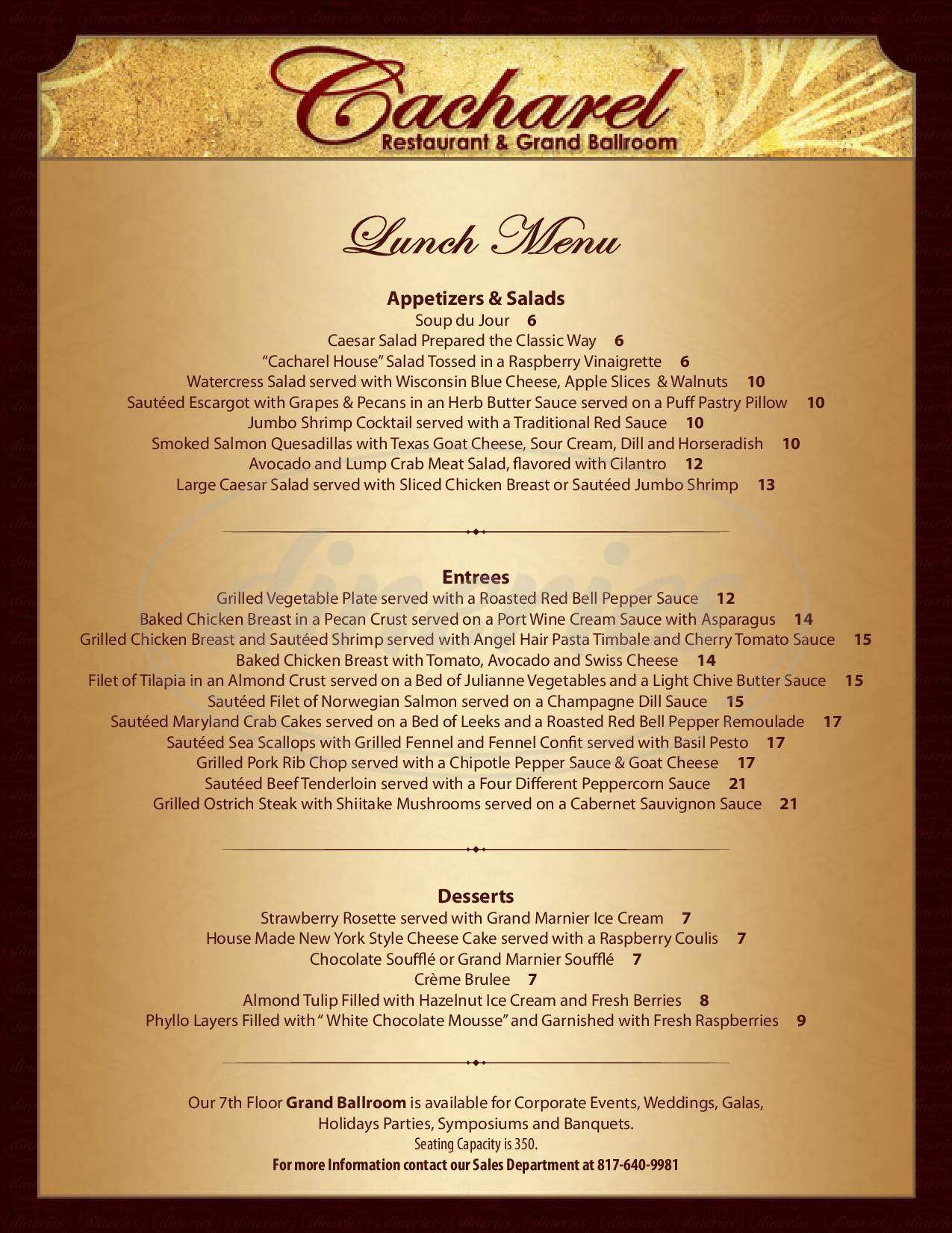 menu for Cacharel Restaurant