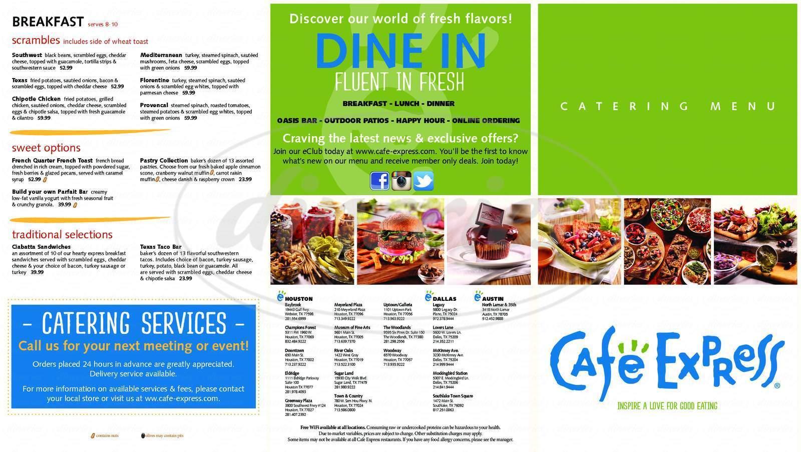 menu for Cafe Express