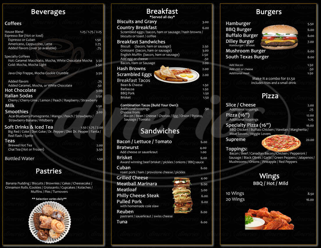 menu for Cafe' Paradiso