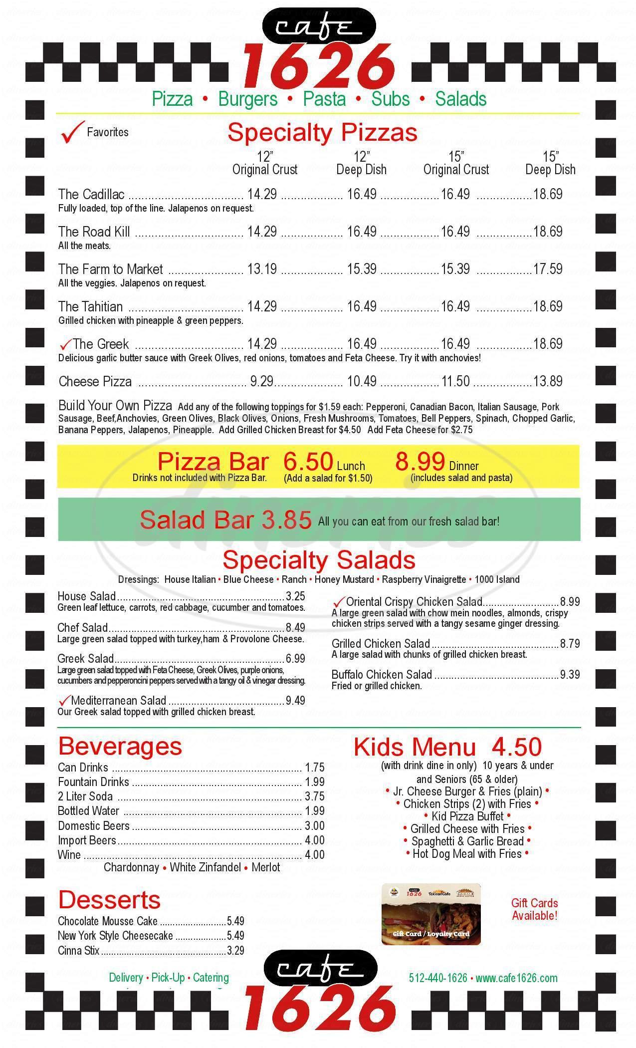 menu for Cafe 1626
