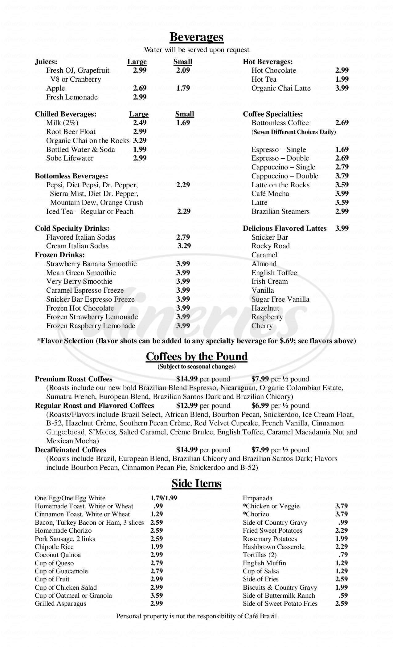 menu for Café Brazil