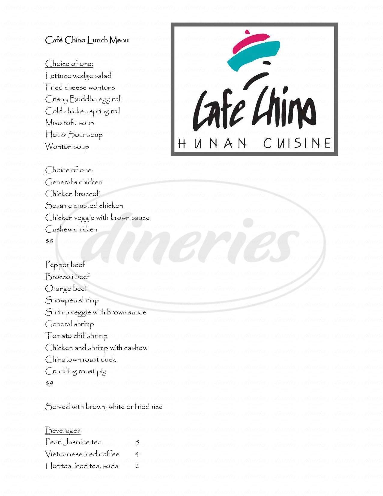menu for Cafe Chino