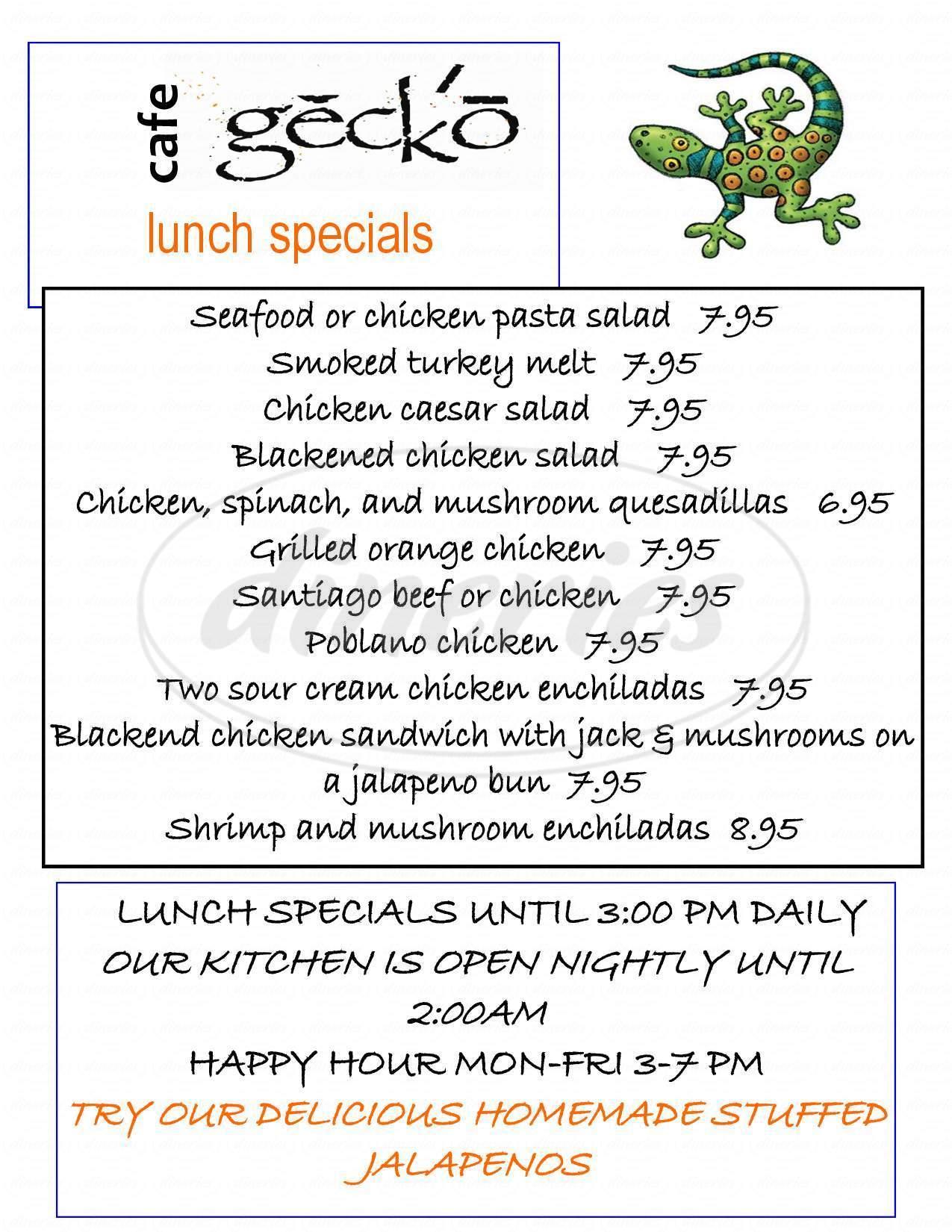 menu for Cafe Gecko