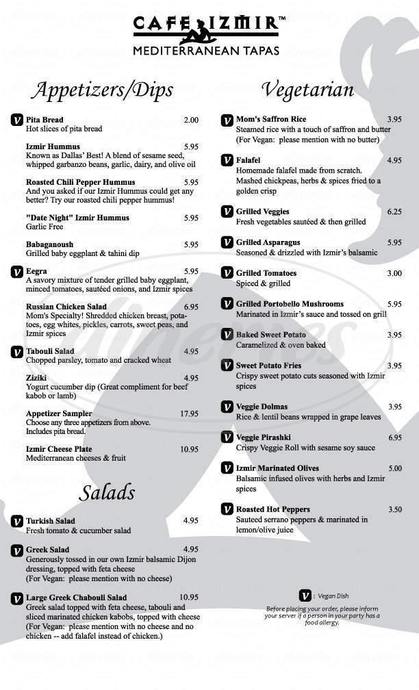 menu for Cafe Izmir