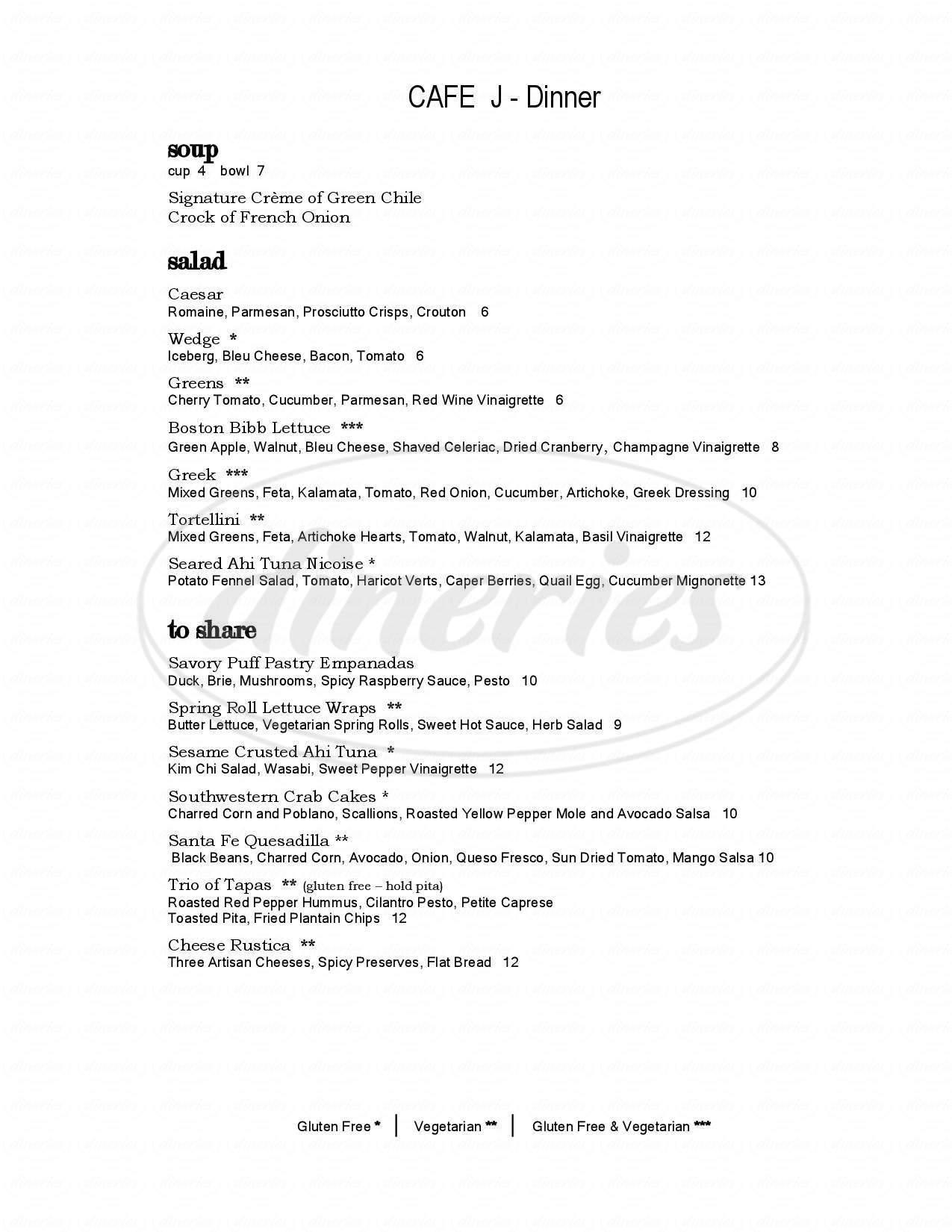 menu for Cafe J