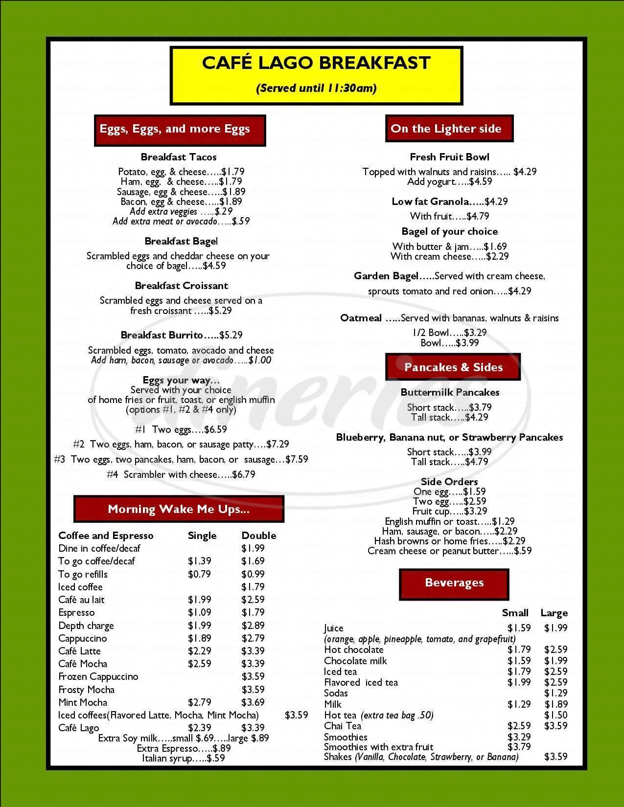 menu for Café Lago