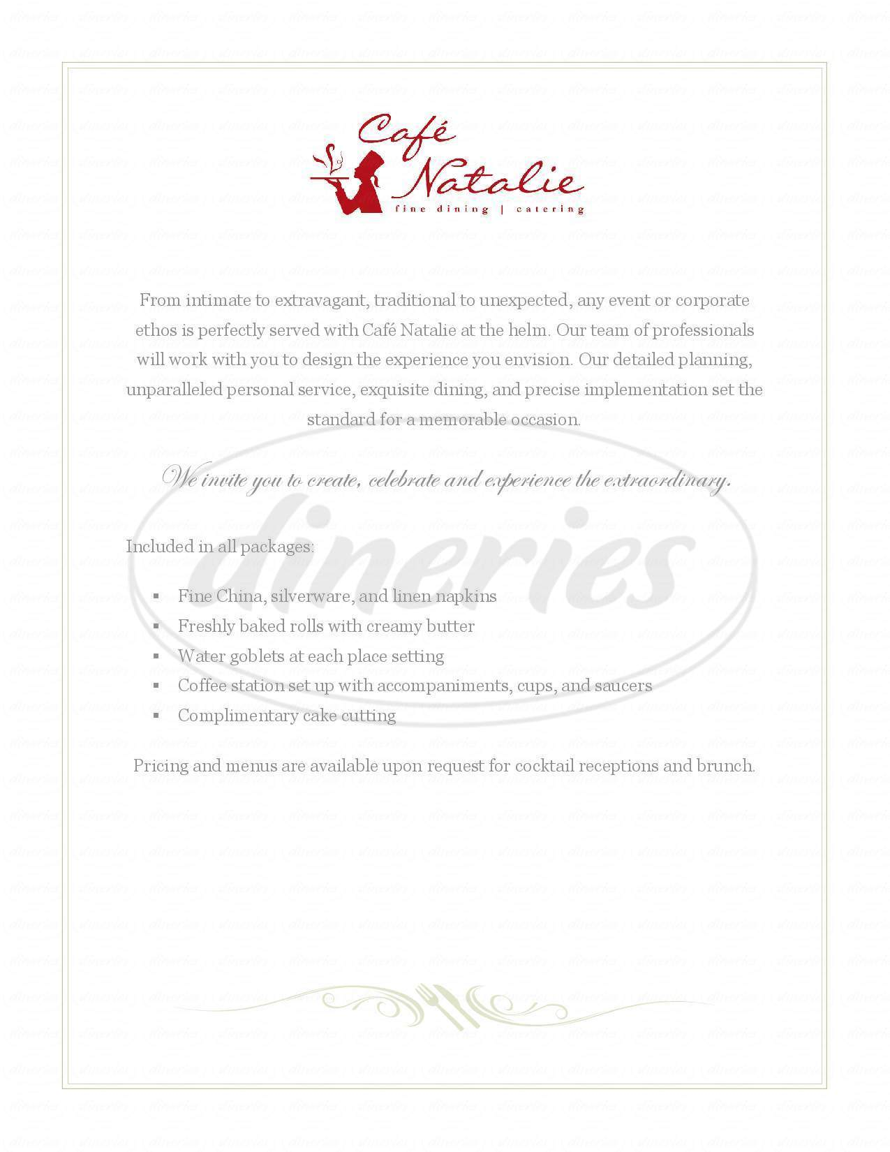 menu for Cafe Natalie Catering & Dining