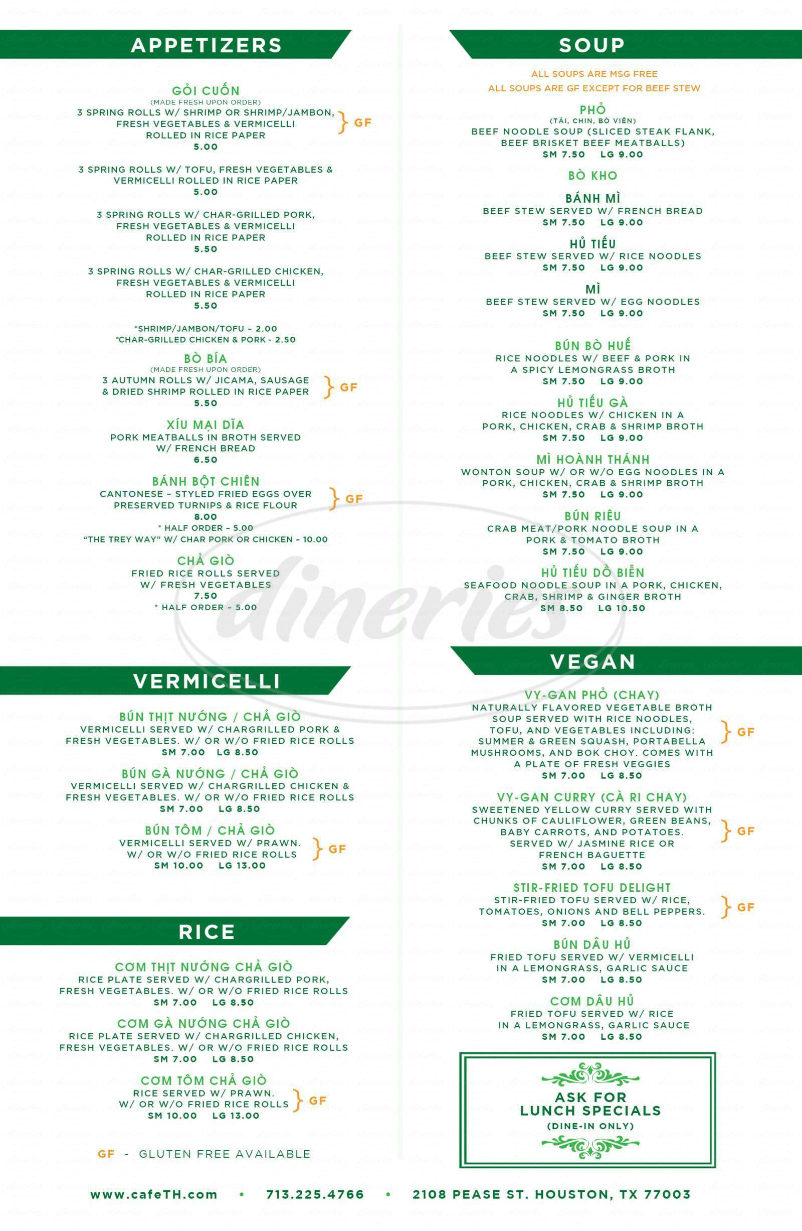 menu for Cafe TH