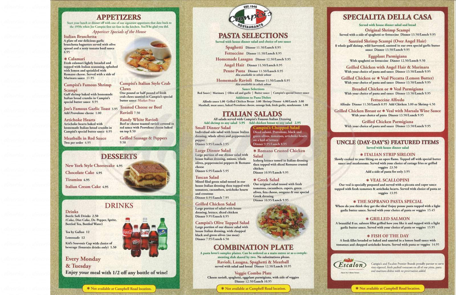 menu for Campisi's Restaurant