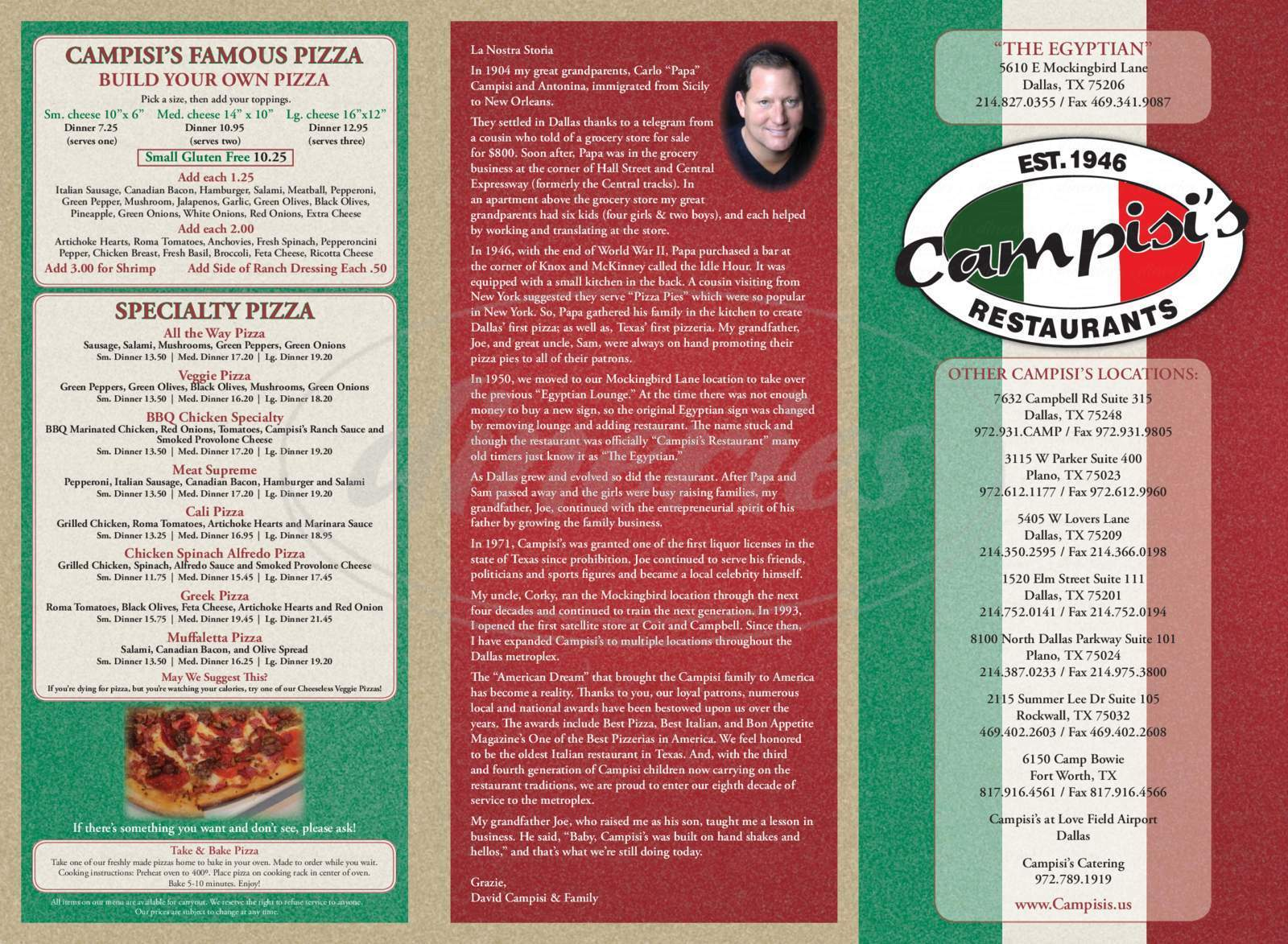 menu for Campisi's Egyptian Lounge