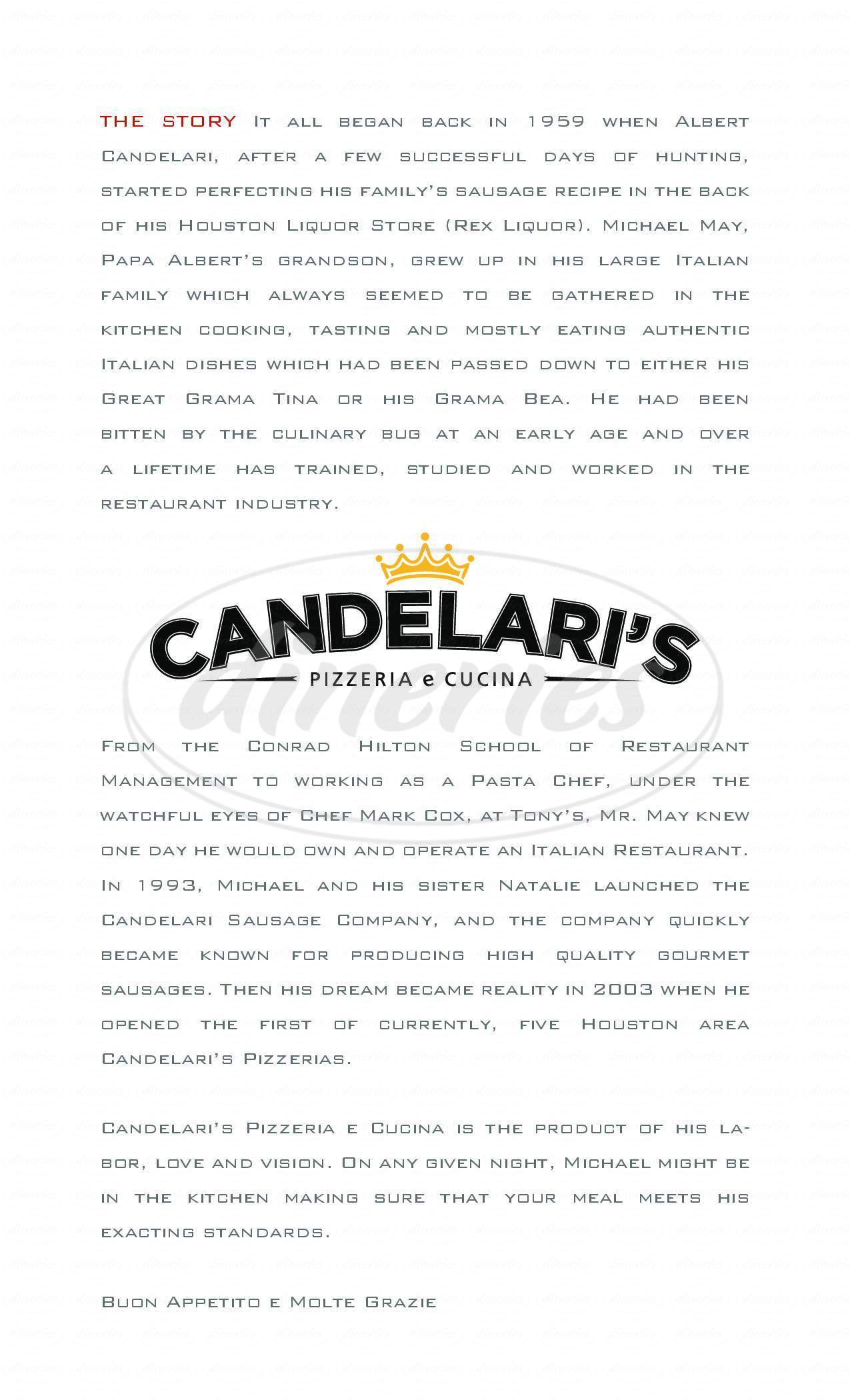 menu for Candelari's Pizzeria