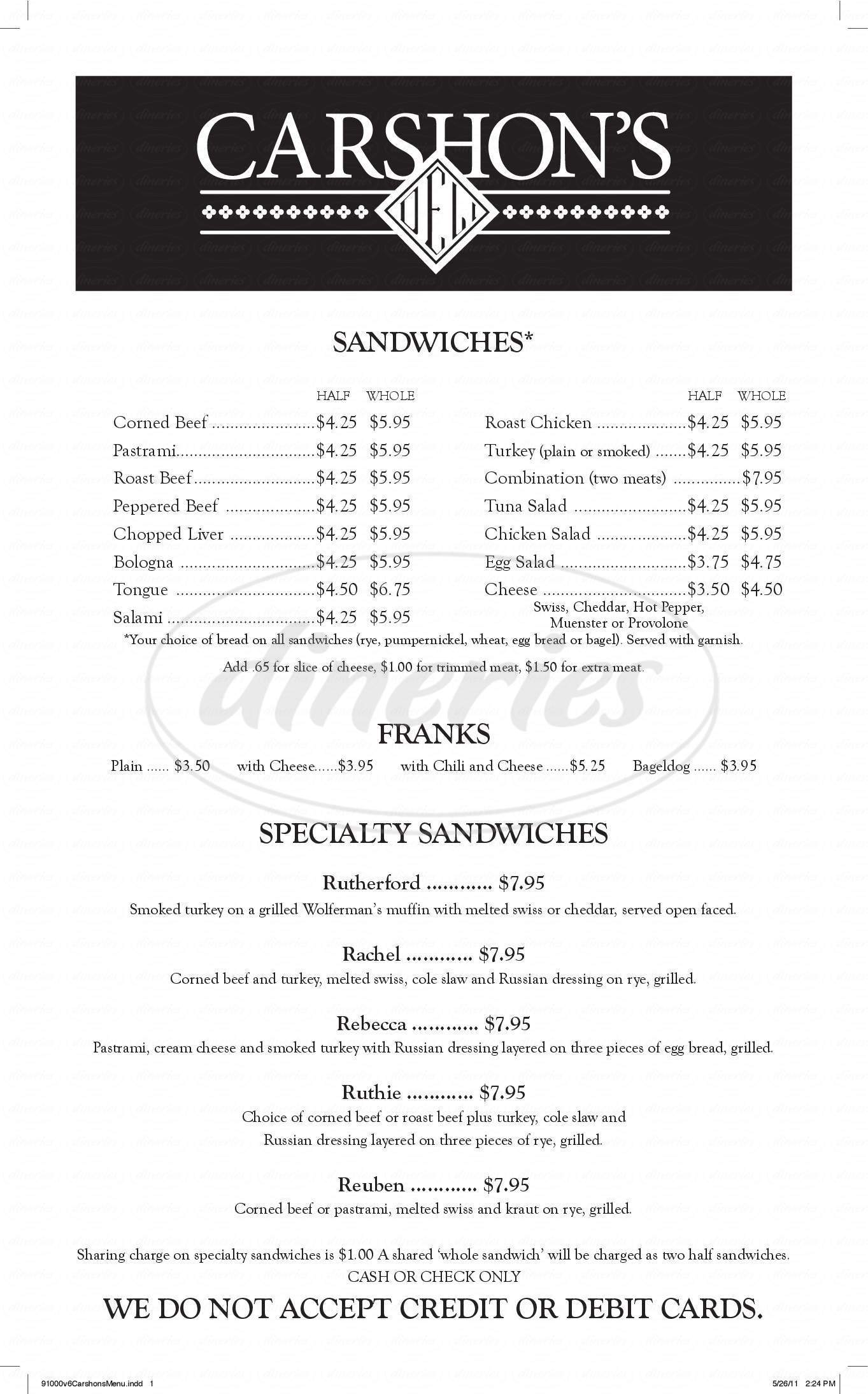 menu for Carshon's