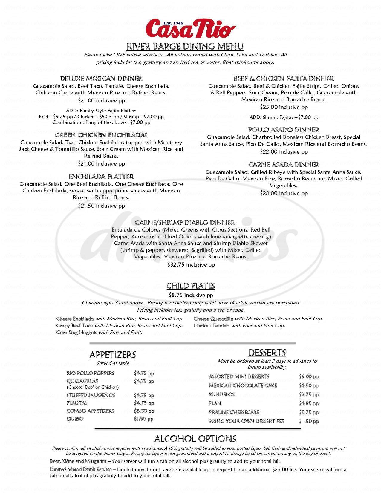 menu for Casa Rio
