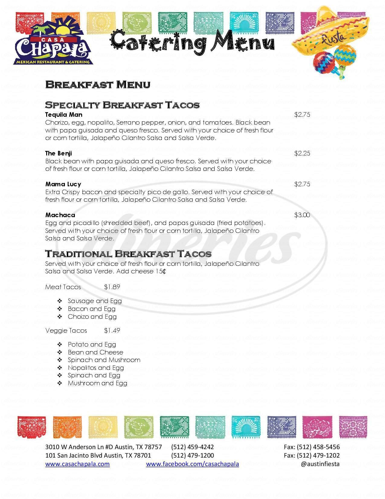 menu for Casa Chapala