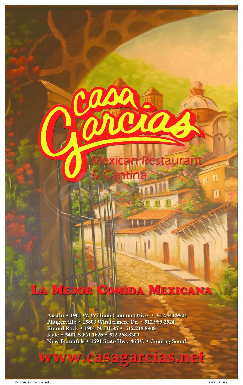 menu for Casa Garcia's