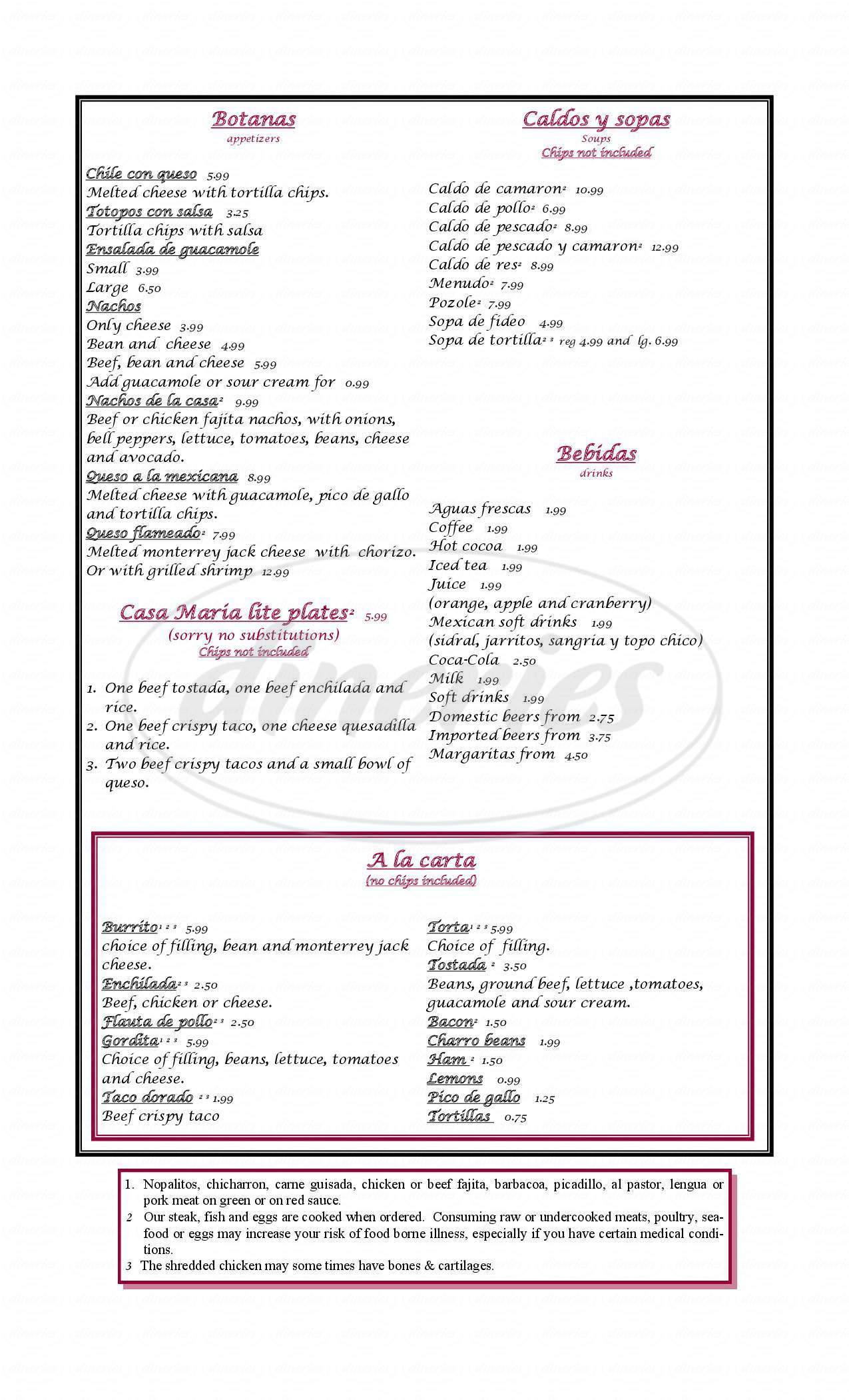 menu for Casa Maria Mexican Restaurant and Bakery