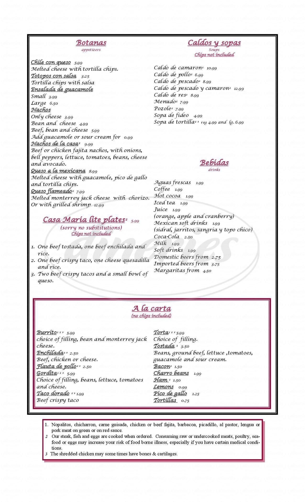 menu for Casa Maria