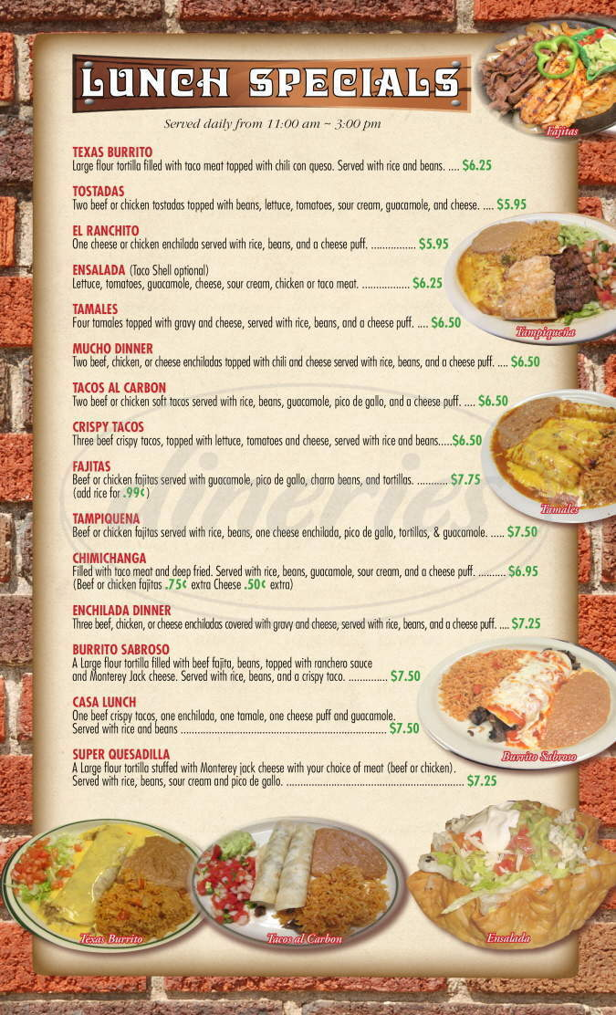 menu for Casa Nueva Mexican Restaurant