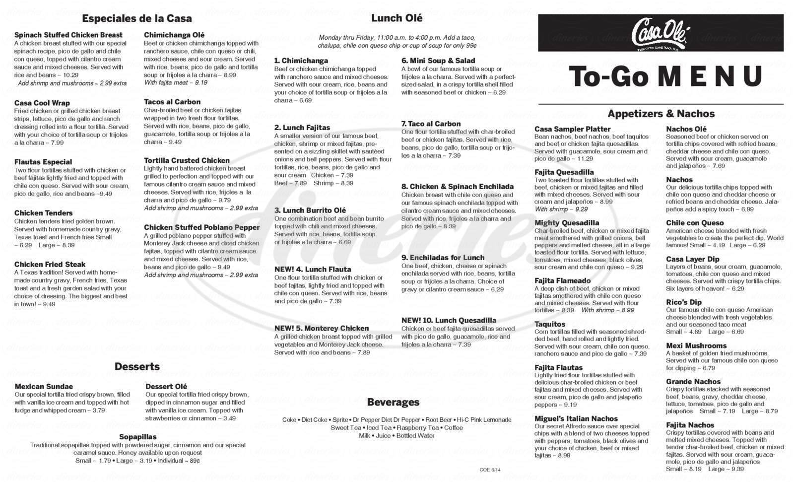 menu for Casa Olé Mexican Restaurant