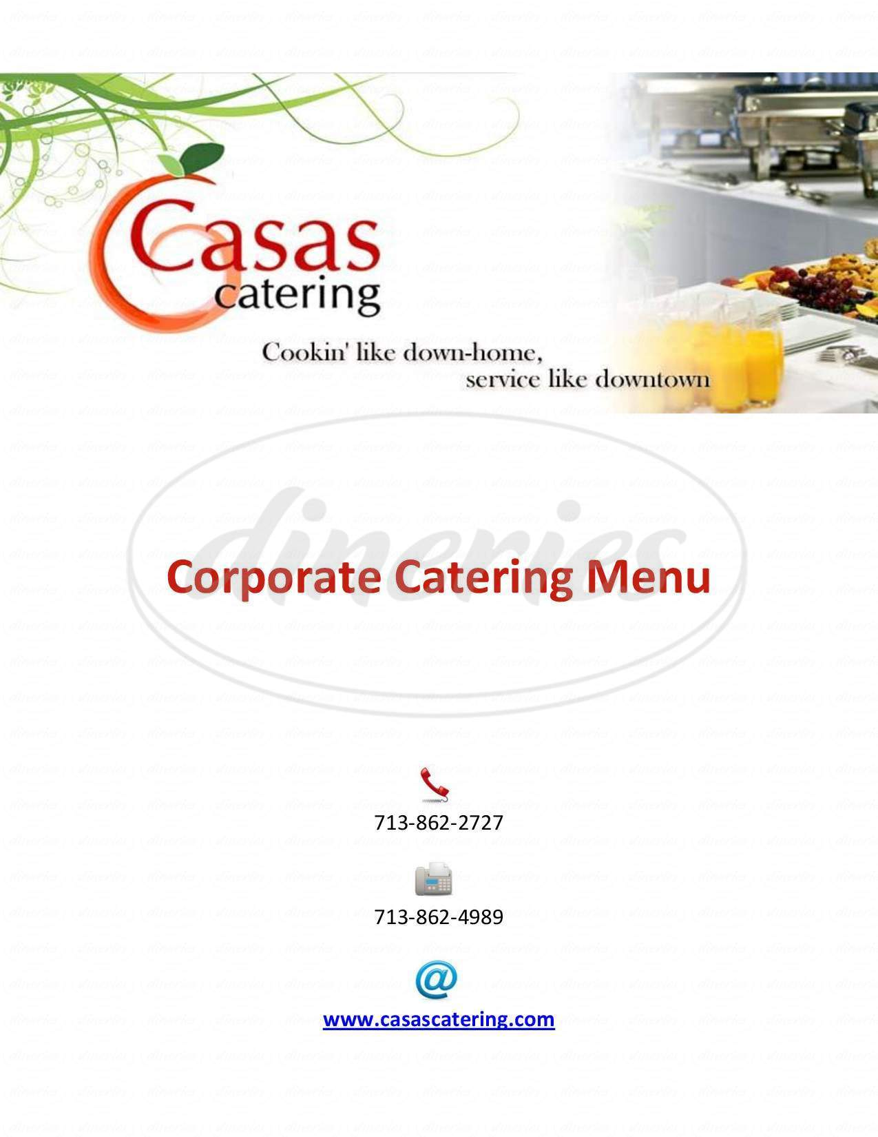 menu for Casas Catering
