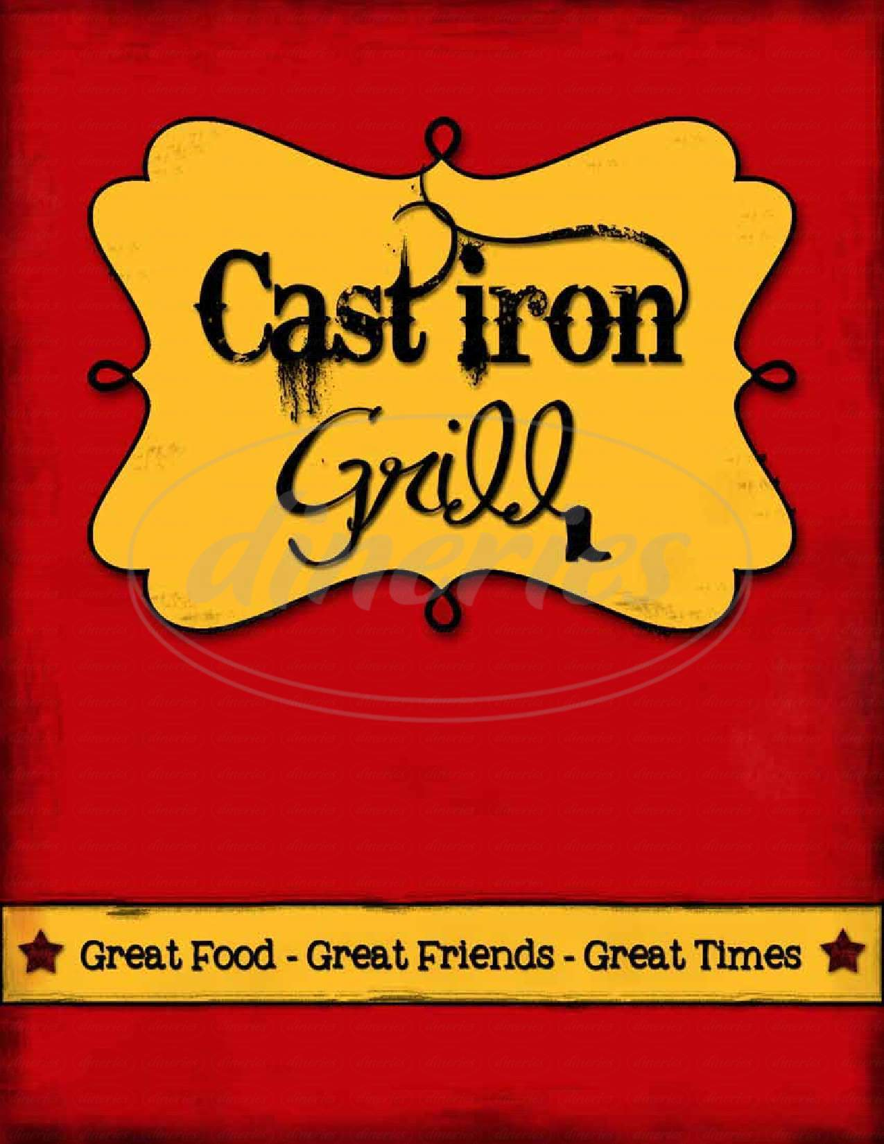 menu for Cast Iron Grill