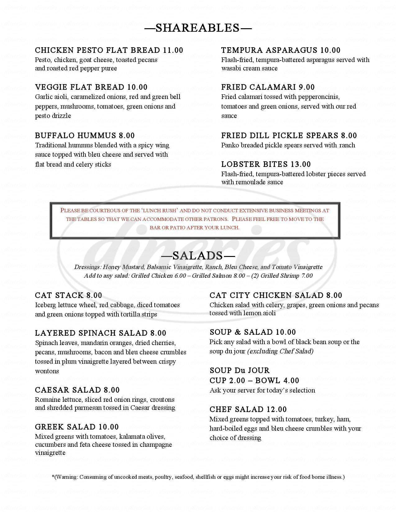 menu for Cat City Grill