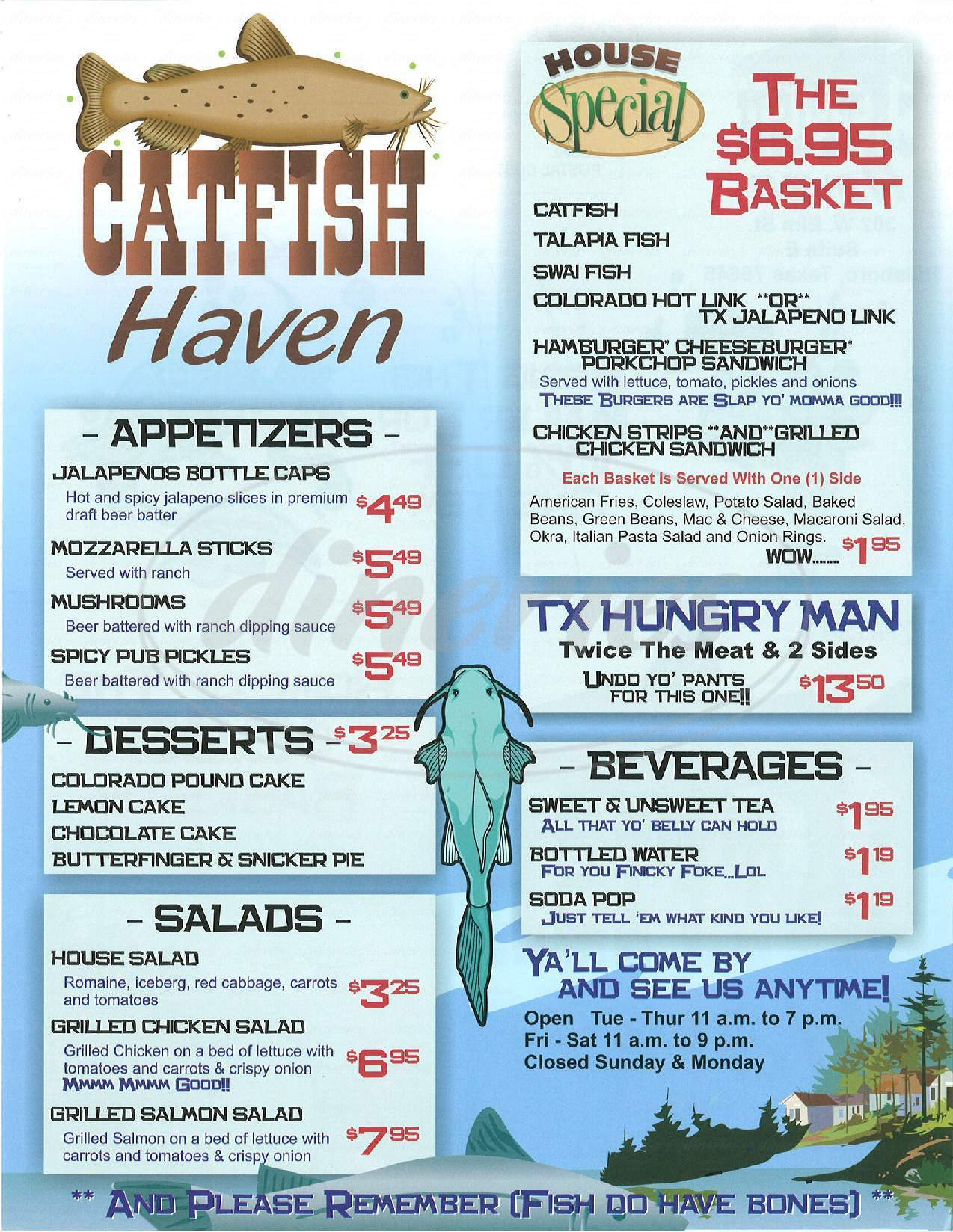 menu for Catfish Haven