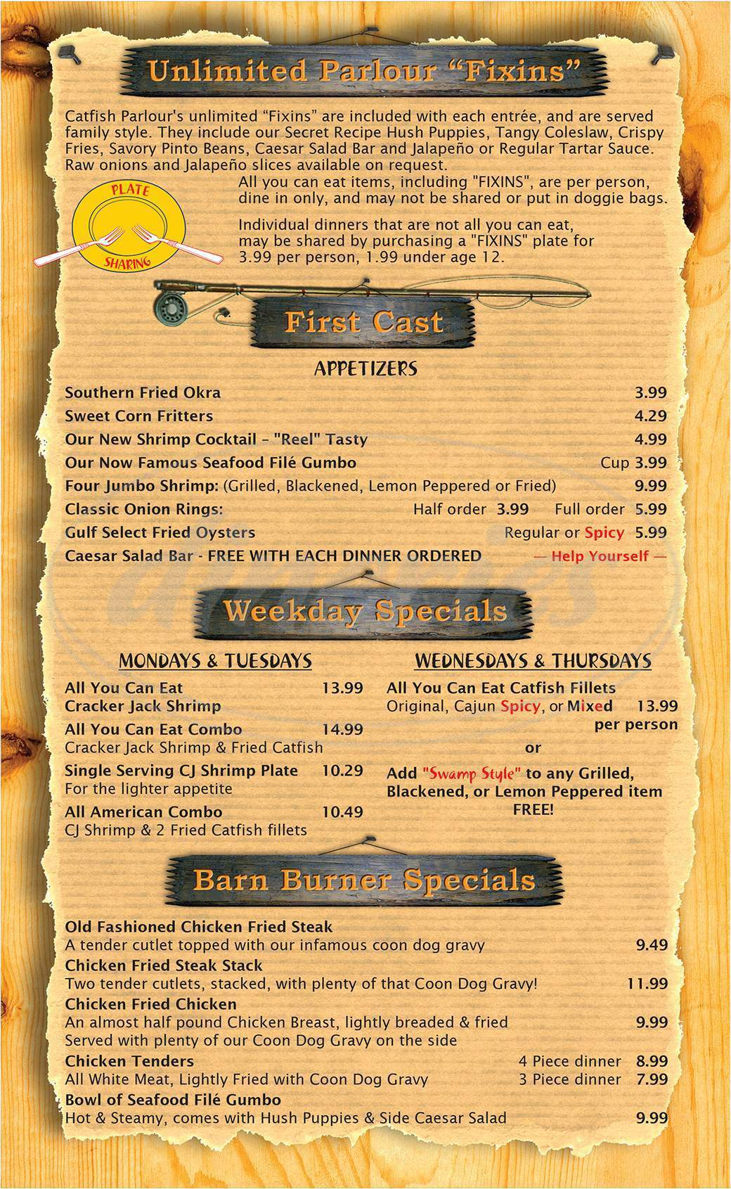 menu for Catfish Parlour