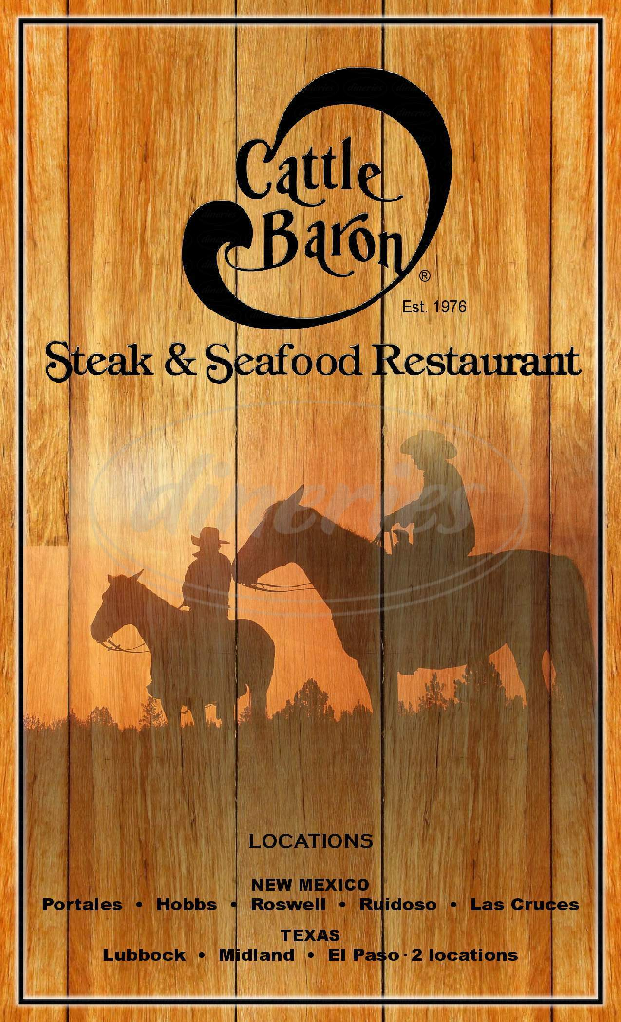 menu for Cattle Baron Steak & Seafood Restaurant