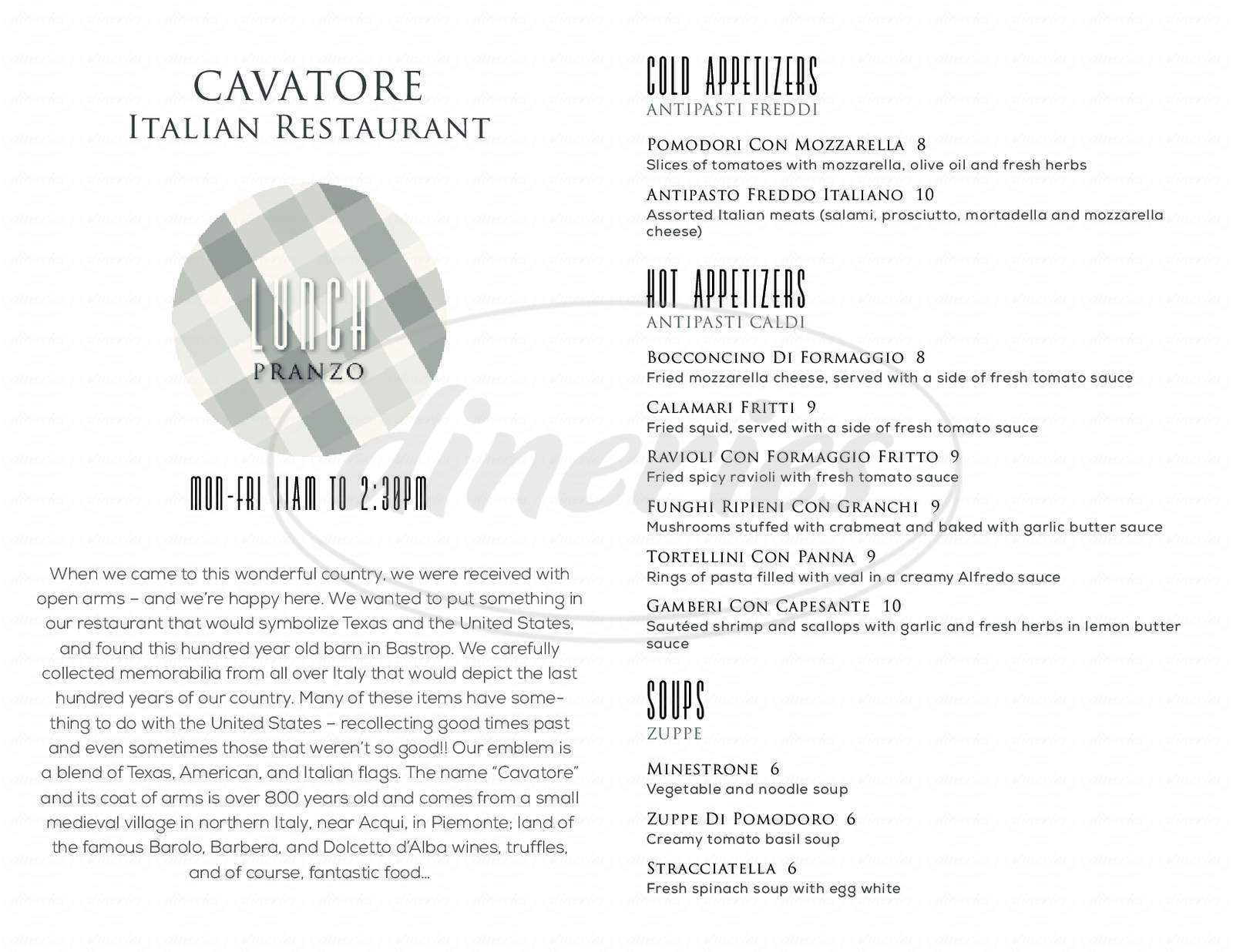 menu for Cavatore Italian Restaurant