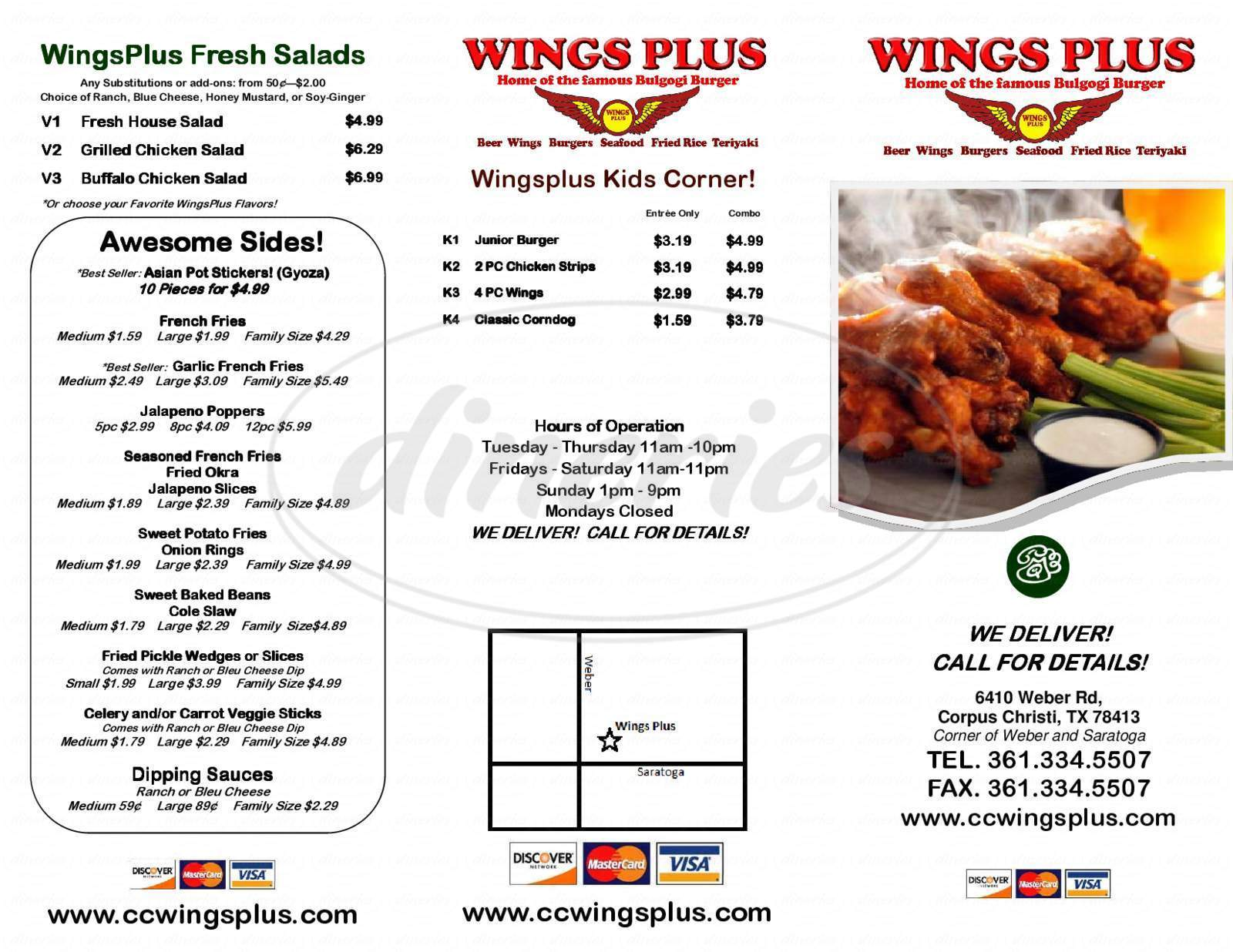 menu for Wings Plus