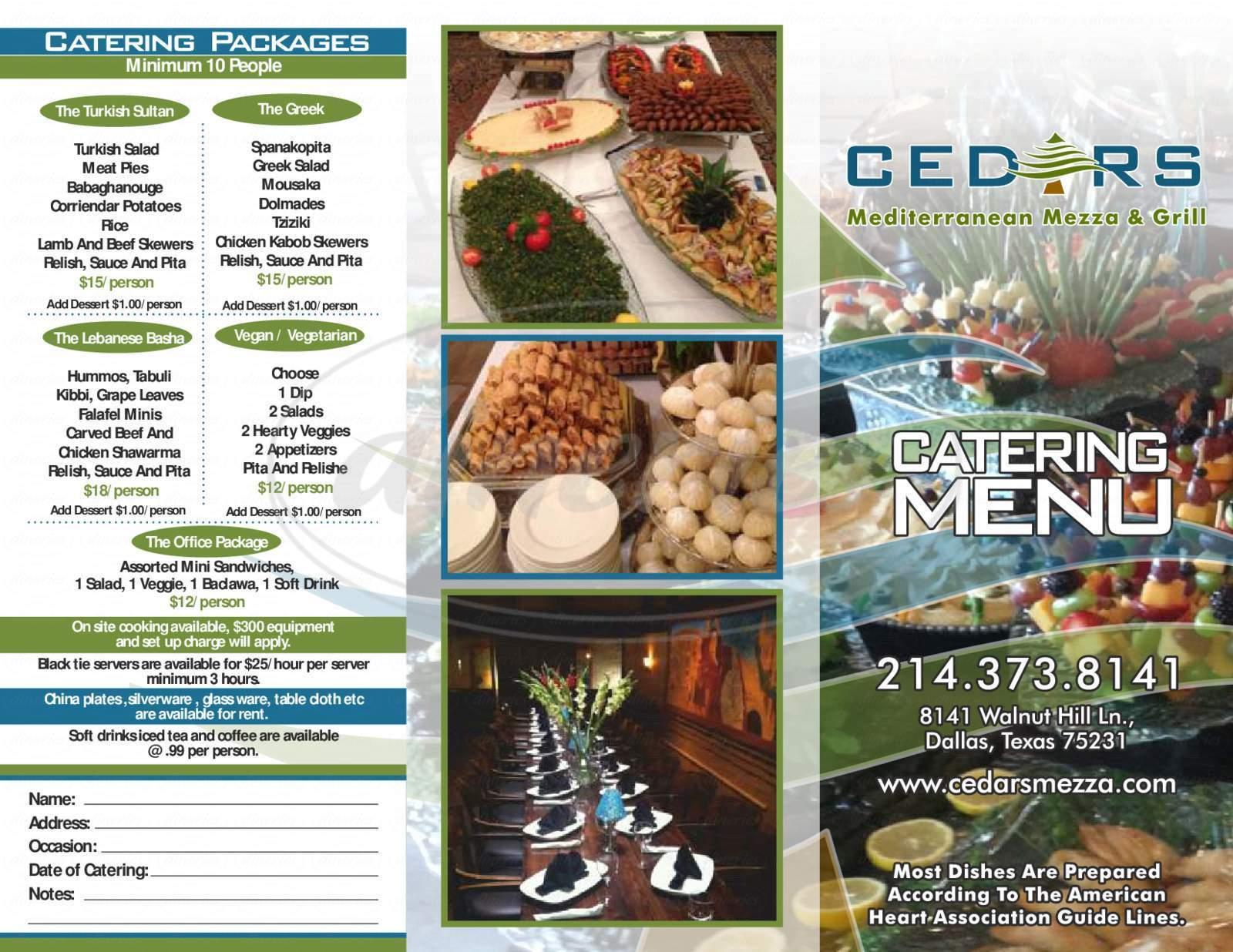 menu for Cedars Mediterranean Mezza & Grill