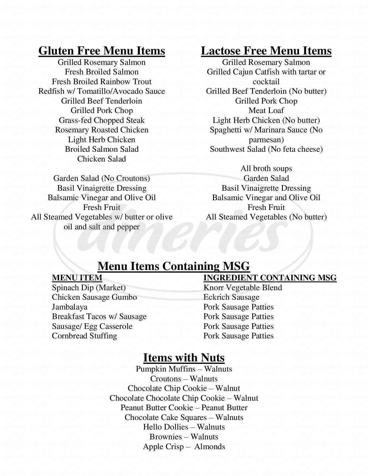 menu for Celebration Restaurant