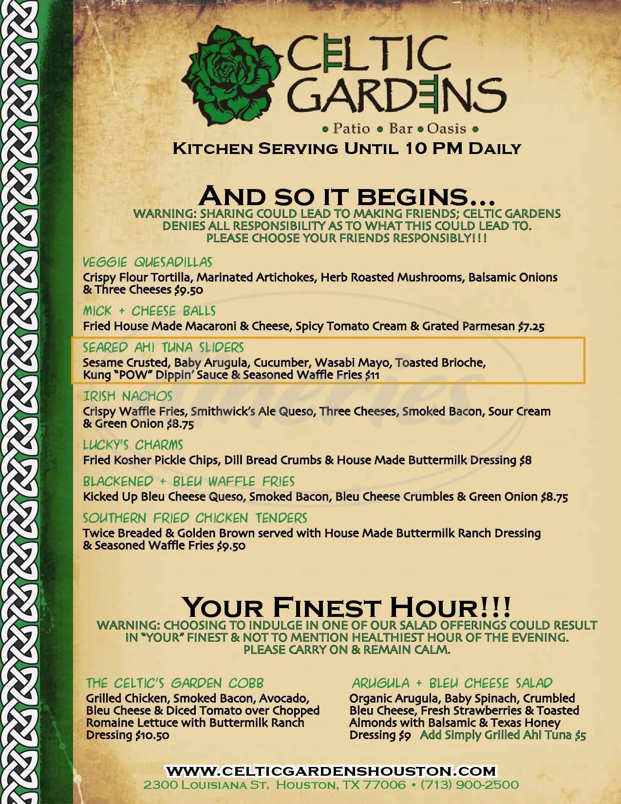 menu for Celtic Gardens