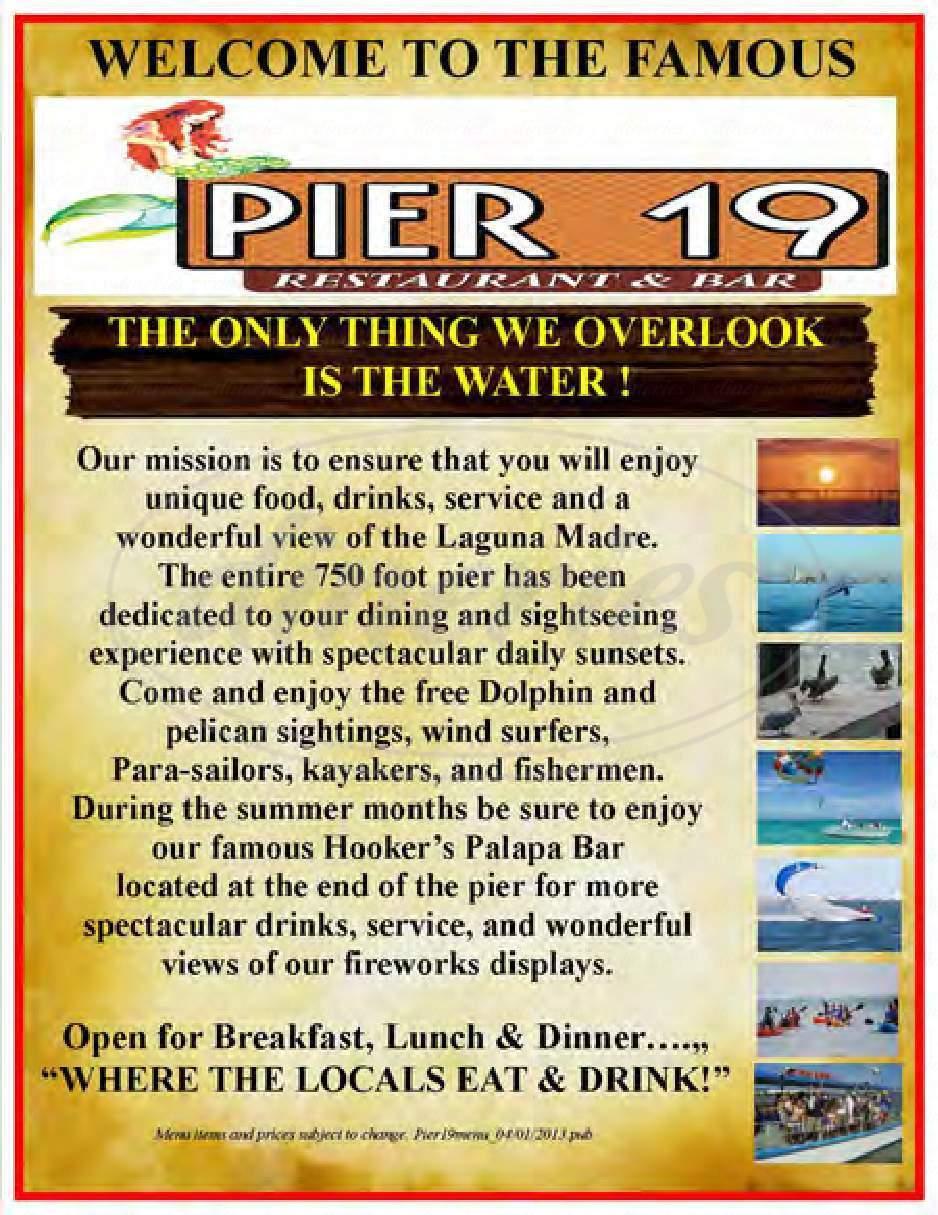 menu for Pier 19
