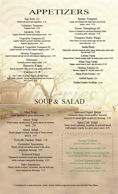 Big menu for Asa Sushi, Lenexa