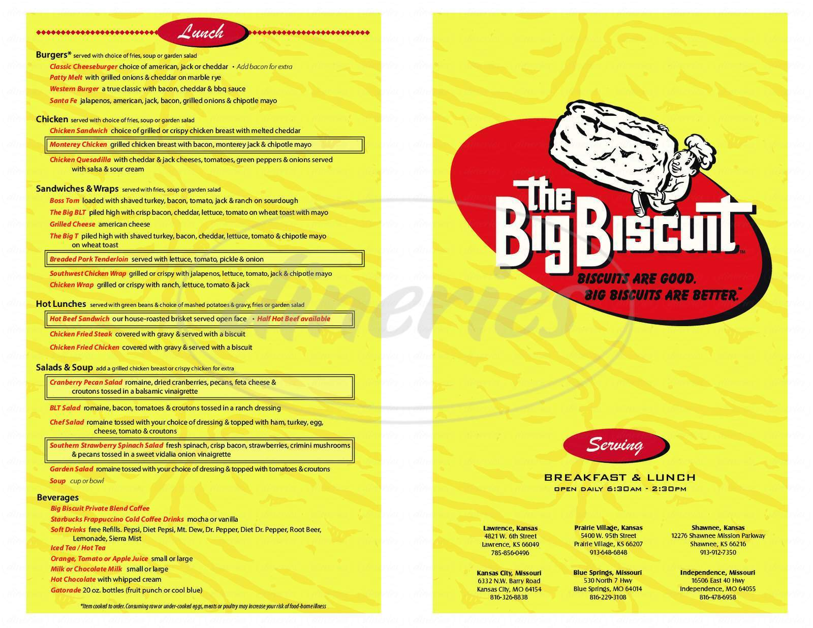 menu for The Big Biscuit