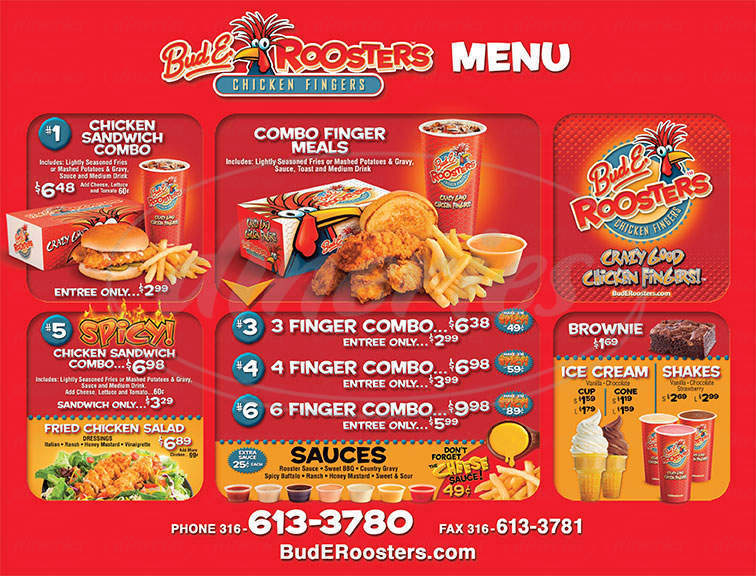 menu for Bud E. Roosters