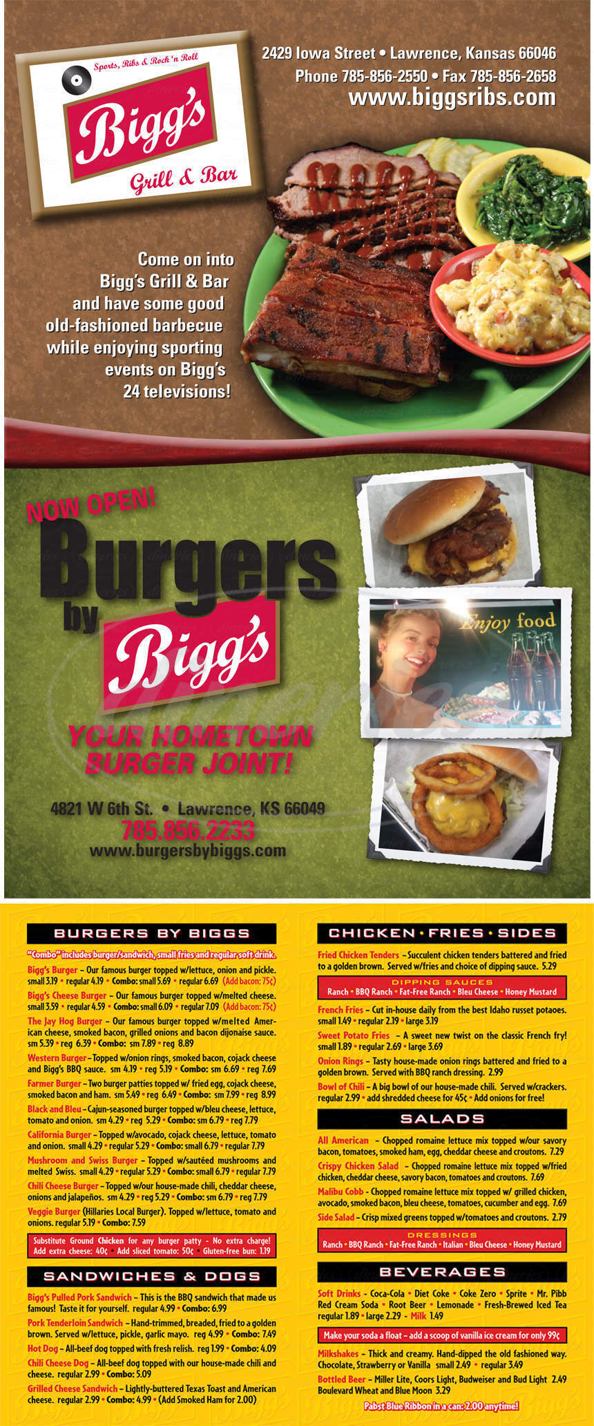 menu for Burgers by Biggs