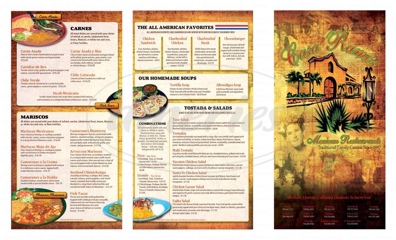menu for Casa Ramos