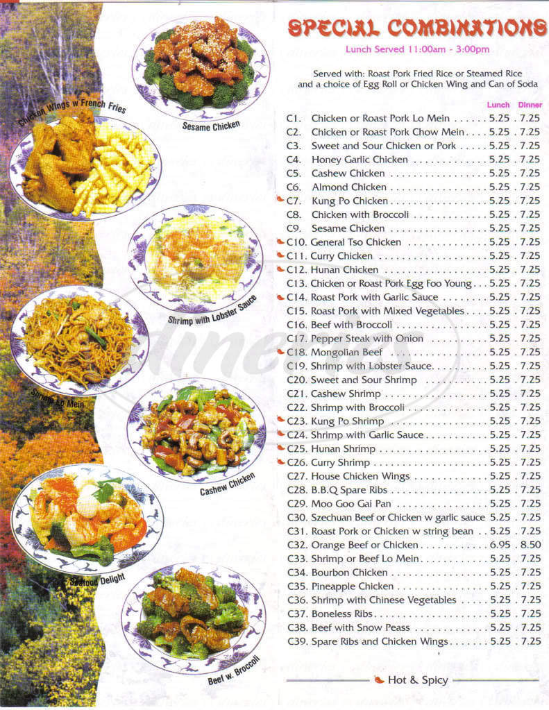 menu for Chinese Chef