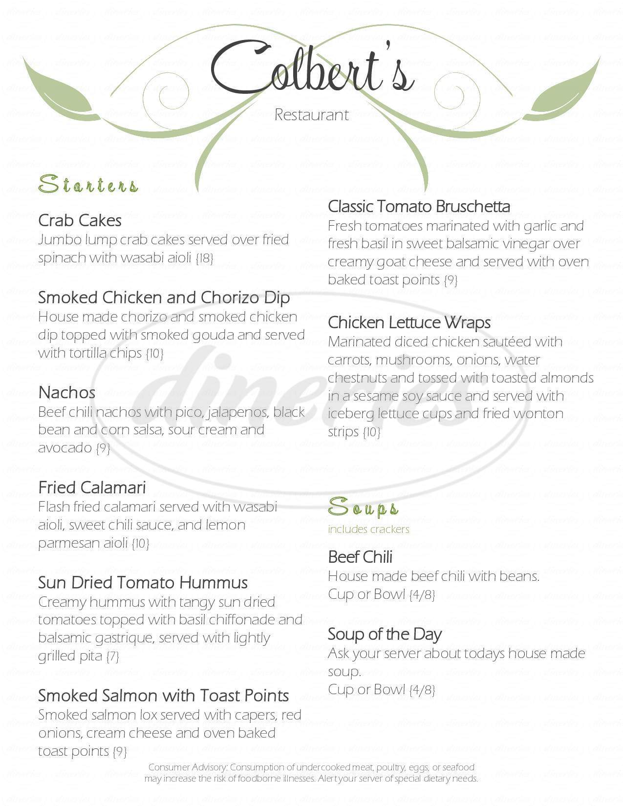 menu for Colberts