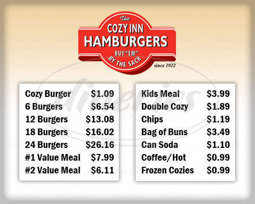 menu for Cozy Inn Hamburgers