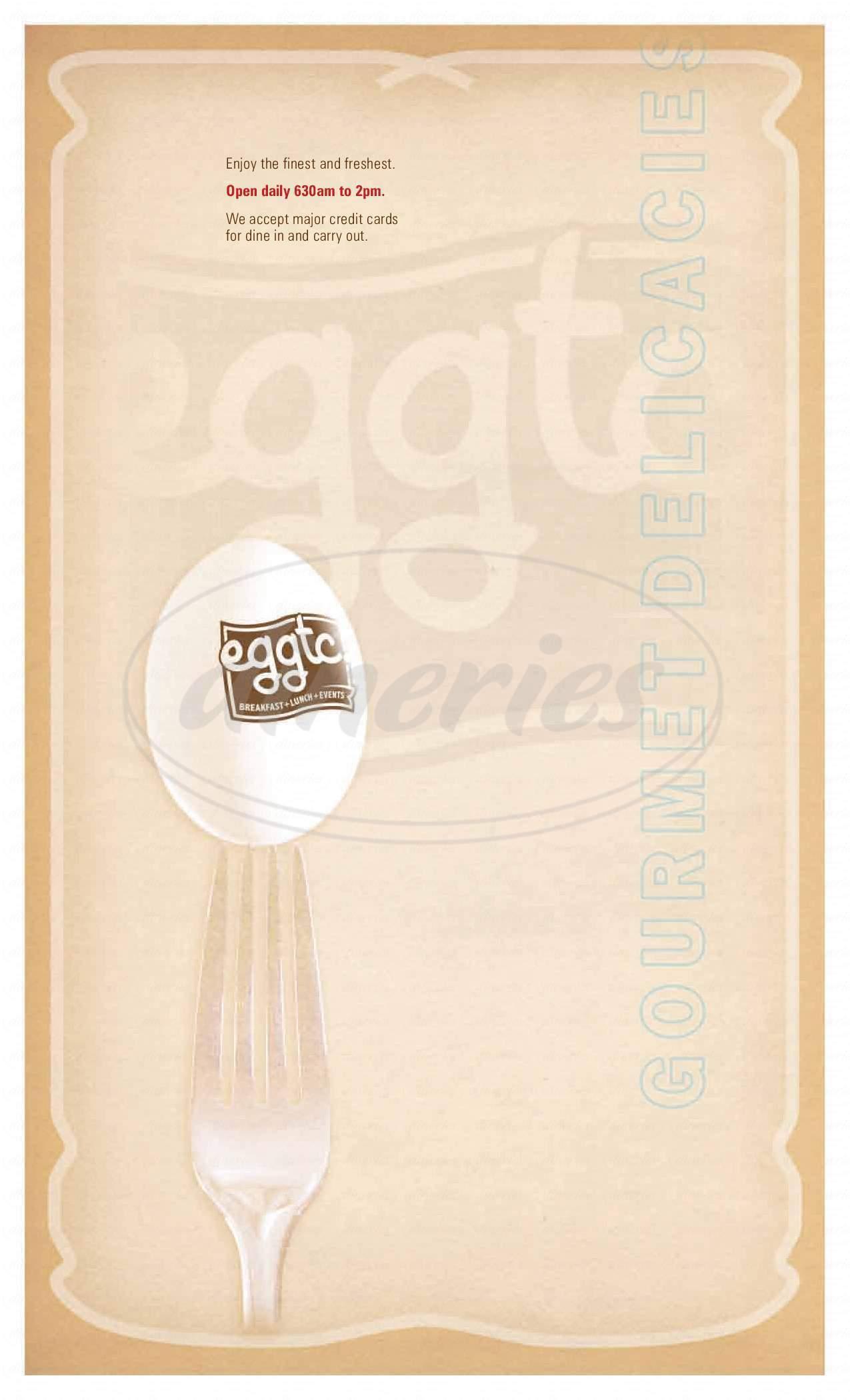 menu for Eggtc.